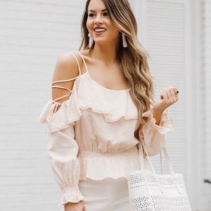 ASTR the label blush lace up sleeve peplum blouse